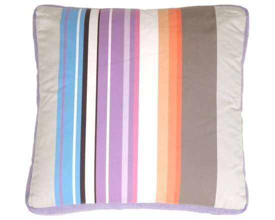 """Pillow Decor - Pillow Decor - Grape & Charcoal Stripes Throw Pillow - A mix of wide and narrow bands of color give this cotton pillow its"""" punch. The addition of texture in the grape linen box edge perfects the design. This pillow pairs wonderfully with its cousin, the Green Apple Throw Pillow. It will wow you with its sophisticated style and detailing."""