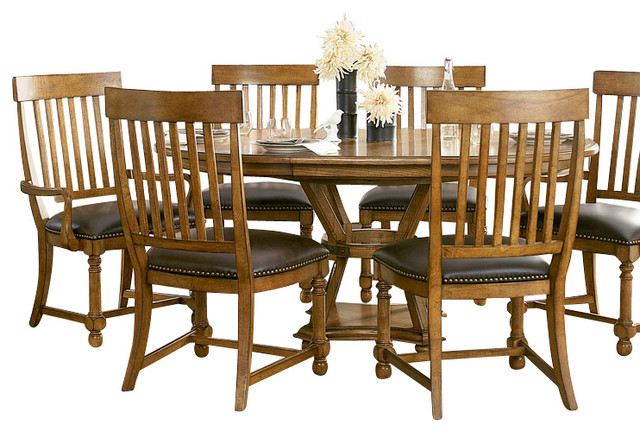 American Drew Americana Home 8 Piece Artisan 39 S Round Dining Room Set Tr