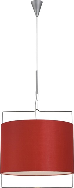 Contemporary Red Shade Satin Nickel Pendant Light contemporary pendant lighting