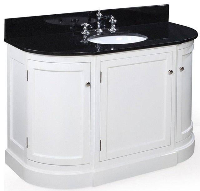 White Transitional Bathroom Vanities: Montage 48-in Bath Vanity (Black/White)