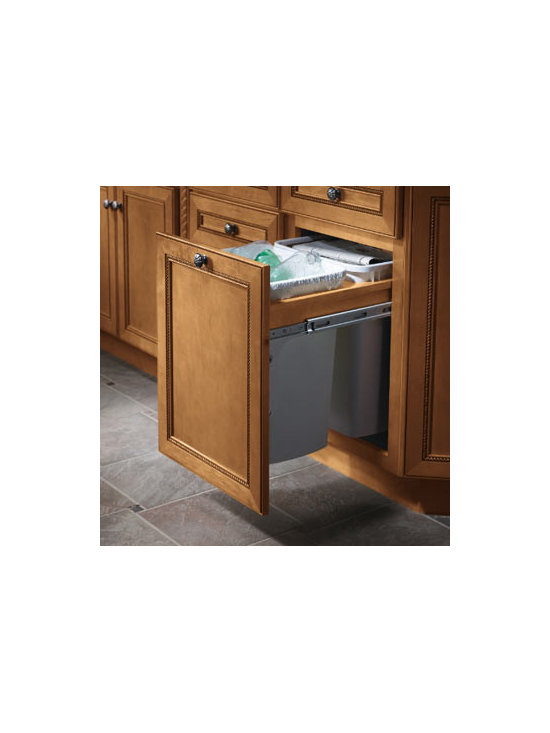 Base Waste Basket - A Base Top Mount Waste Basket slides out for emptying and keeps trash, like laundry sheets, dryer lint or office waste, neatly out of sight.