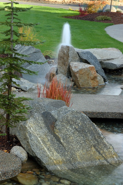Rock Feature + Water contemporary-pool