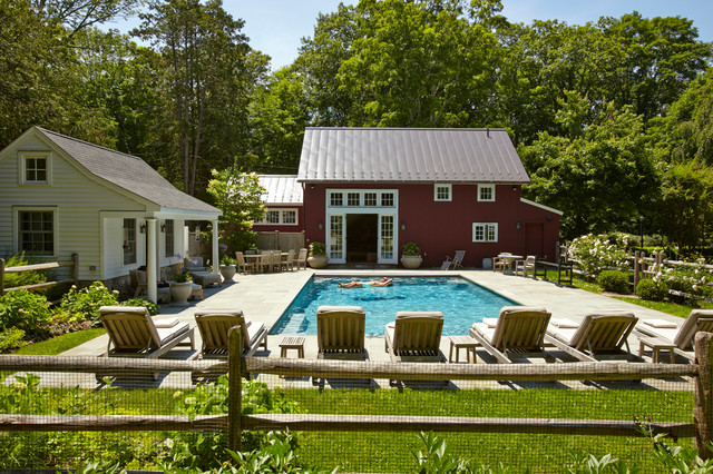 Connecticut barn and pool house farmhouse pool other Barn guest house plans