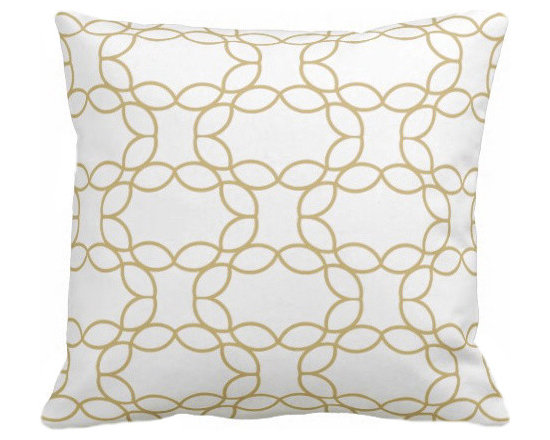 PURE Inspired Design - Petal Ring Organic Pillow Cover, Mustard/Natural, 18 X 12 - Collection:  PURE Beach