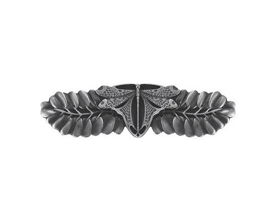 """Inviting Home - Dragonfly Pull (antique pewter) - Hand-cast Dragonfly Pull in antique pewter finish; 4""""W x 1-3/4""""H; Product Specification: Made in the USA. Fine-art foundry hand-pours and hand finished hardware knobs and pulls using Old World methods. Lifetime guaranteed against flaws in craftsmanship. Exceptional clarity of details and depth of relief. All knobs and pulls are hand cast from solid fine pewter or solid bronze. The term antique refers to special methods of treating metal so there is contrast between relief and recessed areas. Knobs and Pulls are lacquered to protect the finish."""