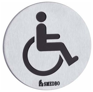 Smedbo restroom sign handicapped stainless steel contemporary bathroom accessories by for Stainless steel bathroom signs