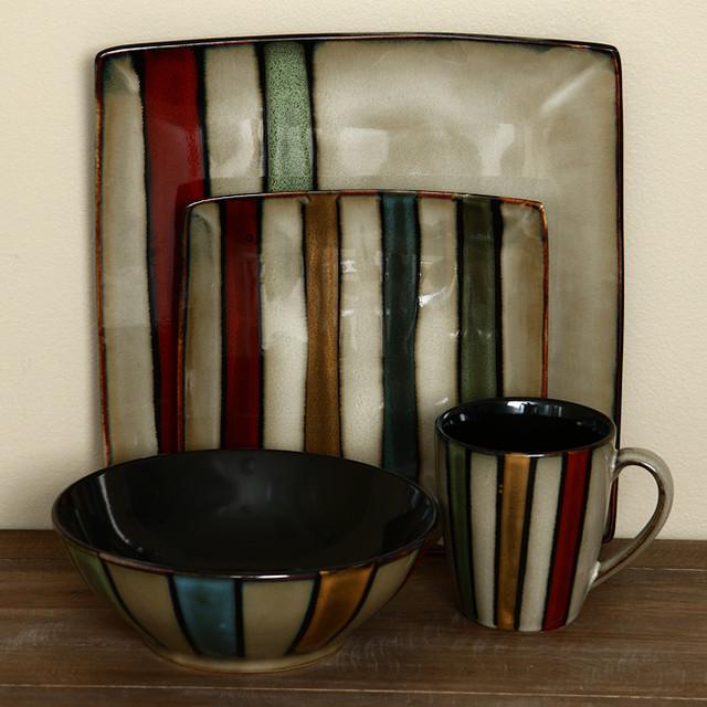 Sango Vertigo Striped 16-pc Dinnerware Set - Contemporary - Dinnerware Sets - by Overstock.com