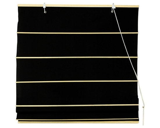 Oriental Unlimited - Cotton Roman Shades in Black (72 in. Wide) - Size: 72 in. Wide. Add an element of softness and modern style to any room of your home with this Roman shade, made of cotton in a rich black finish. Available in your choice of sizes, the shade will be a striking window treatment ideal for keeping out the sun and creating a peaceful, calm retreat. These Black colored Roman Shades combine the beauty of fabric with the ease and practicality of traditional blinds. Made of 100% cotton. Easy to hang and operate. 24 in. W x 72 in. H. 36 in. W x 72 in. H. 48 in. W x 72 in. H. 60 in. W x 72 in. H. 72 in. W x 72 in. H