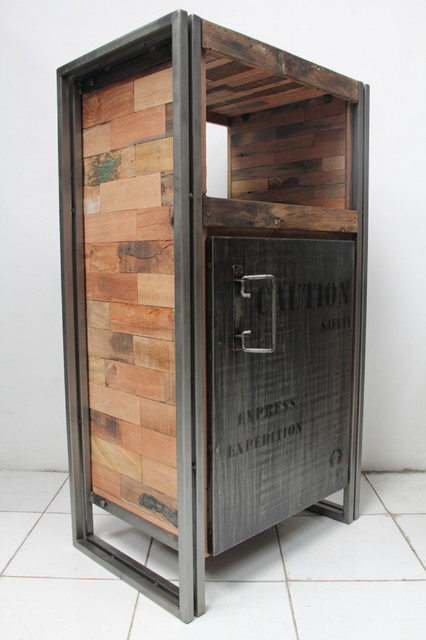 1 Door Storage Cabinet Made From Salvaged Fishing Boat Wood industrial-side-tables-and-end-tables