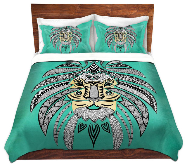 Tribal Lion Turquesa - Contemporary - Duvet Covers And Duvet Sets - by
