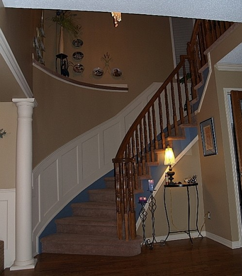 Recessed Paneled Wainscoting For Stairs Traditional