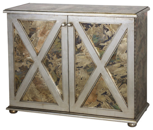 Silver Leaf Reversed Mirrored cabinet contemporary storage cabinets