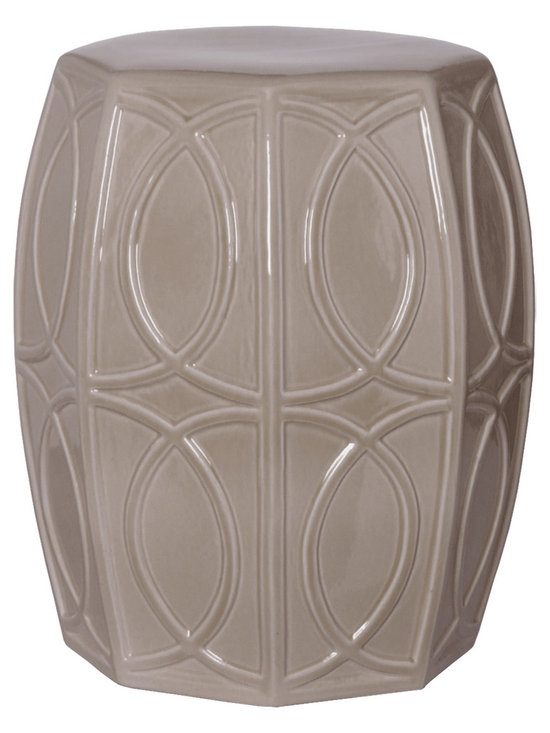 Gray Treillage Garden Stool - Traditionalists will love how this garden stool seamlessly fits in with their décor while those preferring more modern looks can also appreciate this stool for its geometric motif and striking colors. Use this stool to create extra seating or as a design element in any room.