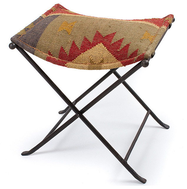 Iron Kilim Cloth Seat Stool (India) traditional-footstools-and-ottomans