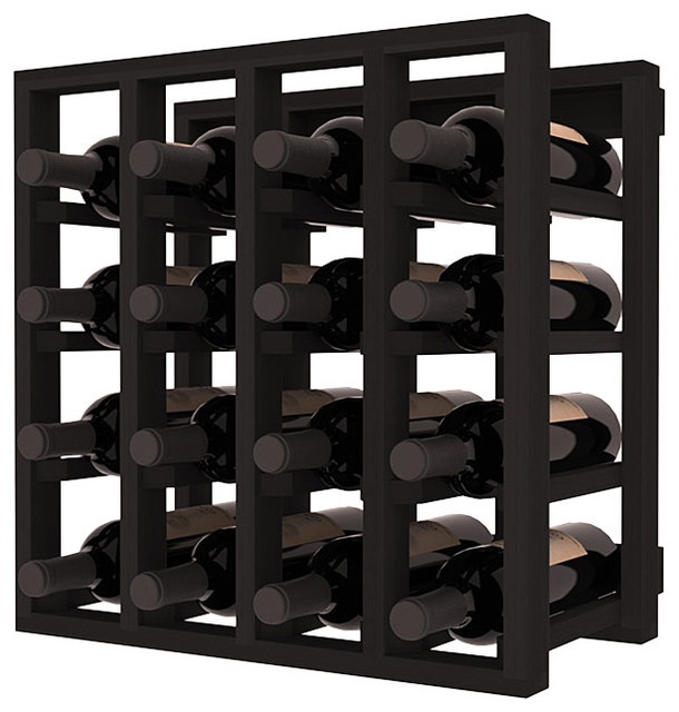 Lattice Stacking Cube - 16 Bottle Cubicle in Redwood with Black Stain traditional wine racks