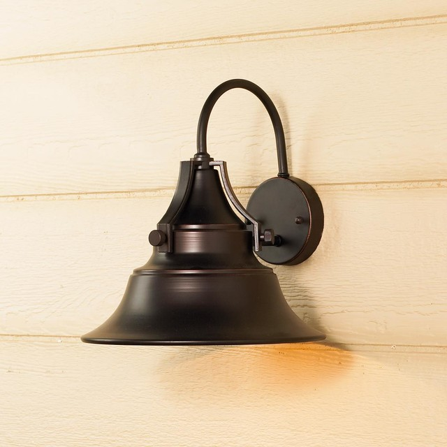 Bell Outdoor Post Lights: Medium Industrial Bell Outdoor Light