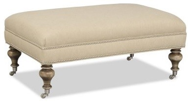 Sam Moore Maxim Bench with Pewter Casters - Linen modern-benches