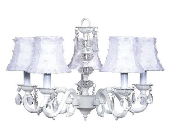 Belle & June - The Karine Chandelier - This strikingly elegant 5-arm ivory chandelier features white dupioni silk shades with shimmering petal flower detail, a dramatic crystal ball center, and hanging crystals throughout. Delight your little princess and hang this gorgeous light fixture in her room.