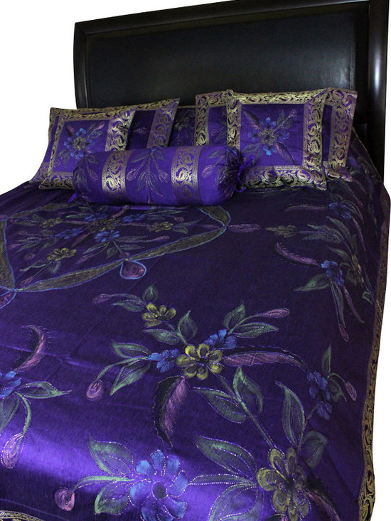Banarsi Designs - Hand Painted Floral 7-Piece Duvet Cover Set, Plum Purple, King - Our decorative and unique 7-piece hand painted floral duvet cover set from Banarsi Designs includes: 1 duvet cover, 2 square pillow covers, 2 rectangular pillow covers, and 2 bolster pillow covers.