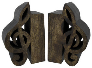 Pair of decorative wooden treble clef bookends traditional bookends by zeckos - Treble clef bookends ...