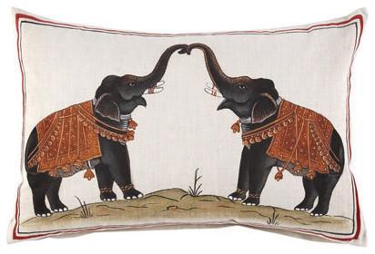 Two Elephants Decorative Pillow asian-decorative-pillows