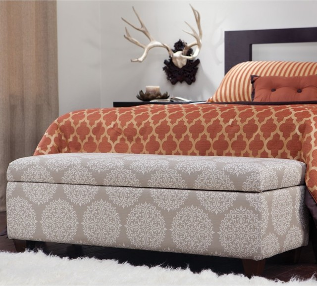 angelo:HOME Kent Storage Bench Ottoman Filigree Cream Tan contemporary-footstools-and-ottomans