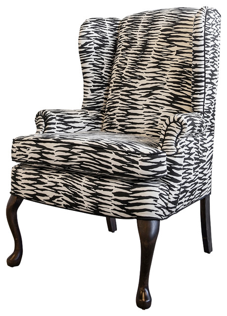 Vintage Wingback in New Abstract Zebra Print Fabric ...