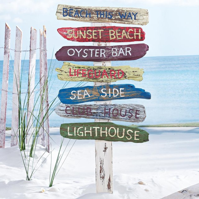 Beach Signs on a Stake tropical outdoor decor