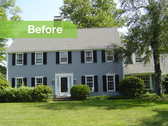 Before and after 39 70s colonial gets modern update for Colonial home additions