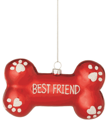Christmas Tree Decorations For Dogs : Dog bone best friend christmas tree ornament pet doggy