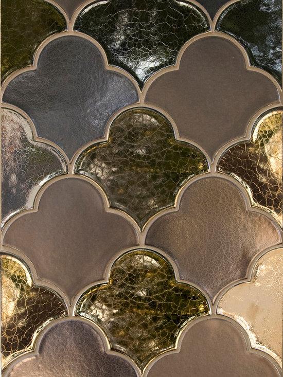 New Releases by Pratt and Larson - Large Scalloped Fan shape using metallic craftsman glazes.