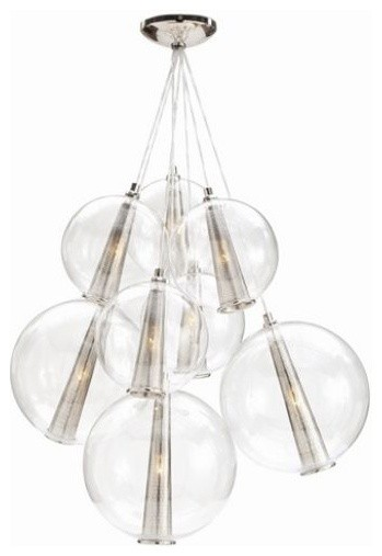Caviar Cluster Polished Nickel | Clayton Gray Home modern chandeliers