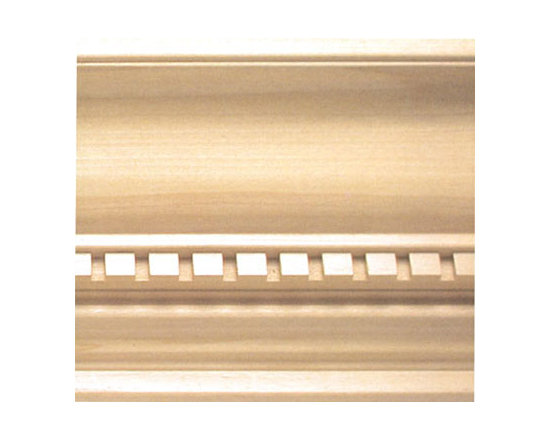 "Inviting Home - Chatham dentil crown molding - dentil wood crown molding 5-1/2""H x 4-1/4""P x 6-13/16""F x 8'00""L sold in 8 foot length 3 piece minimum order required Outstanding quality embossed crown molding profile milled from high grade kiln dried solid poplar hardwood. Decorative ornamental design crafted embossed under intense heat and pressure. Wood molding is sold unfinished and can be easily stained painted or glazed. The installation of the wood molding should be treated the same manner as you would treat any wood molding: all molding should be kept in a clean and dry environment away from excessive moisture. Acclimate wooden moldings for 5-7 days. When installing wood moldings it is recommended to nail molding securely to studs and glue all mitered corners for maximum support."