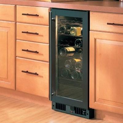 Marvel 23 Bottle Wine Cooler with Glass Door - Black modern-barware