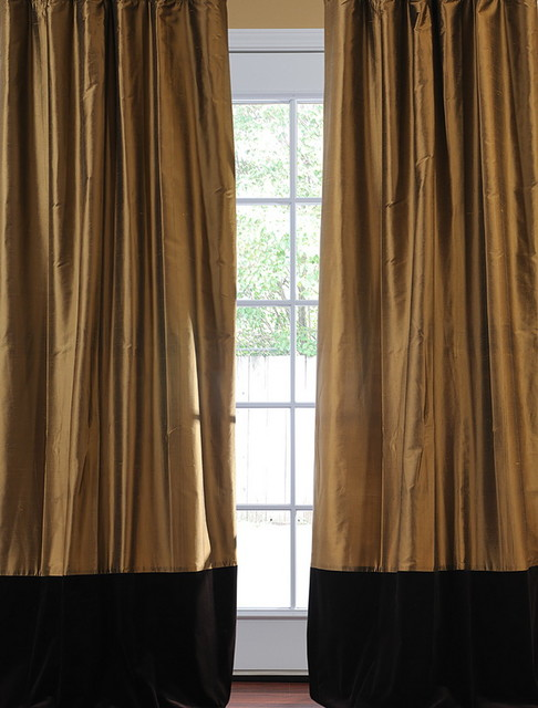 ... Taupe Gold Thai Silk With Kona Brown Velvet Curtain victorian-curtains