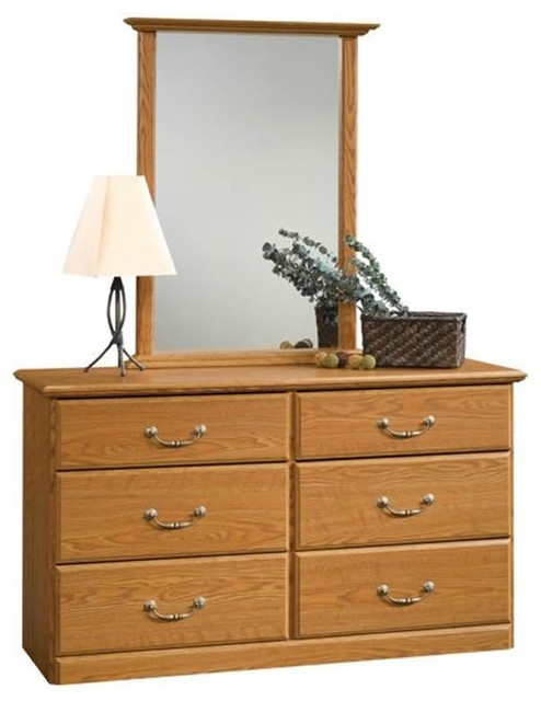 Sauder Orchard Hills Dresser and Mirror Set in Carolina Oak Finish transitional-dressers-chests-and-bedroom-armoires