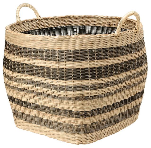 Striped Wicker Storage Basket - Contemporary - Baskets - other metro - by KOUBOO