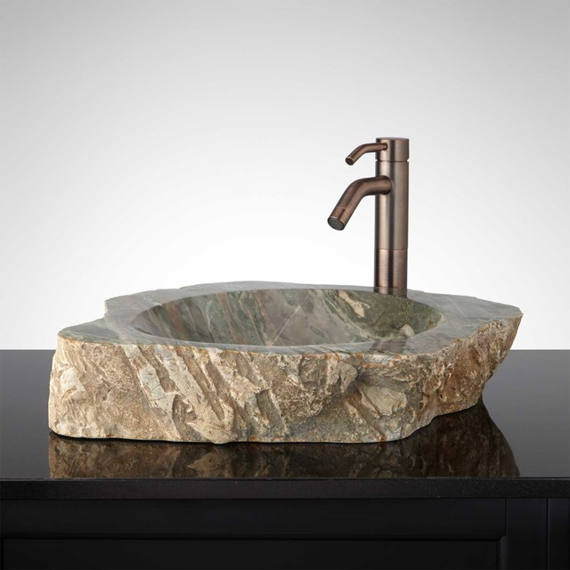 Aneta Natural Stone Vessel Sink Traditional Bathroom Sinks By Signature Hardware