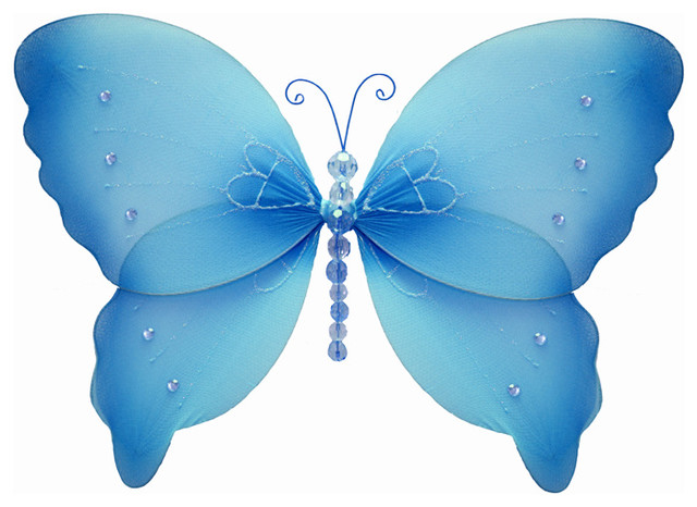 Hanging Butterfly Wall Decor : Hanging butterfly small blue crystal nylon butterflies