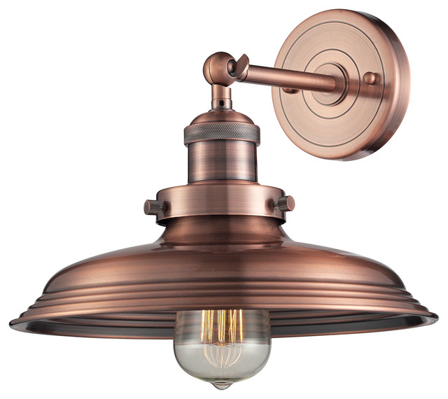 Antique Farmhouse Wall Sconces : Newberry 1-Light Sconce In Antique Copper - Farmhouse - Wall Sconces - by ELK Group International