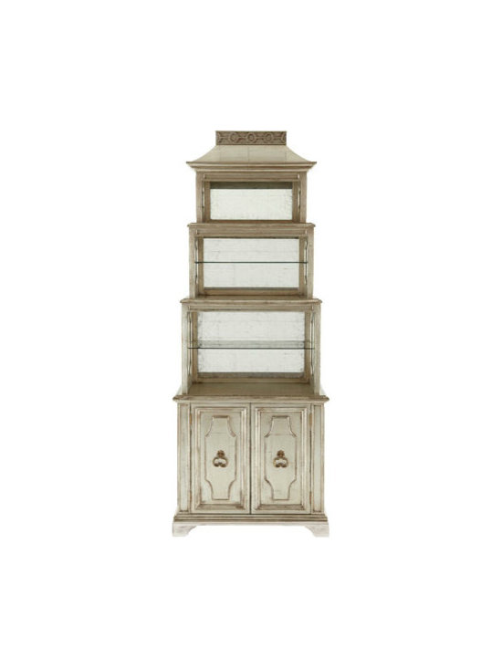 """""""Pagoda"""" Etagere - Four-stepped, graduated etagere offers both lighted open display space and closed storage space. From the John-Richard Collection."""