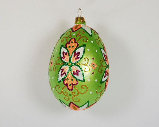 """Green """"Faberge"""" Egg Hand Blown Glass Christmas Tree Ornament - This vintage style hand blown Christmas Tree ornament is 4'' (100mm) tall and made of hand blown glass. It is hand painted by a skilled artist and will be a beautiful addition to your Christmas ornaments collection. Artists use same painting technique that was used in 1800's. Each glass ornament is painted individually which makes them unique and adds some small variations to each product."""