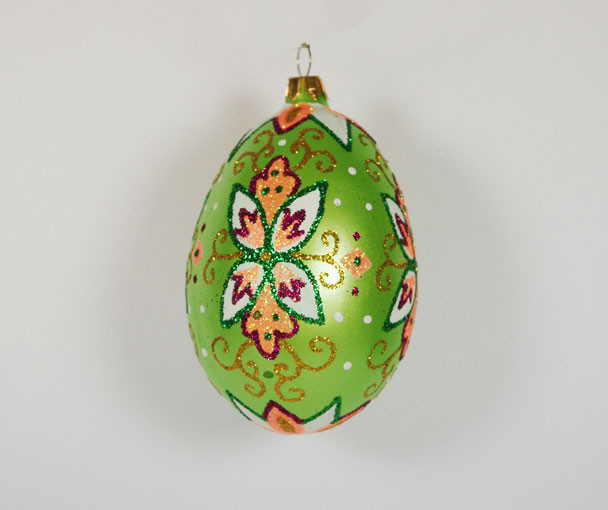 Traditional Glass Christmas Tree Ornaments : Green quot faberge egg hand blown glass christmas tree