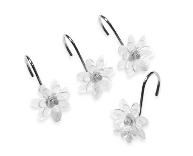 Steve Madden Clear Flower Shower Curtain Hooks Modern
