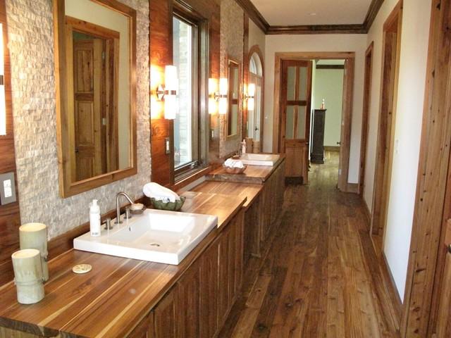 Bathroom in private residence rustic grade teak lumber contemporary hardwood flooring by for Teak wood flooring for bathrooms