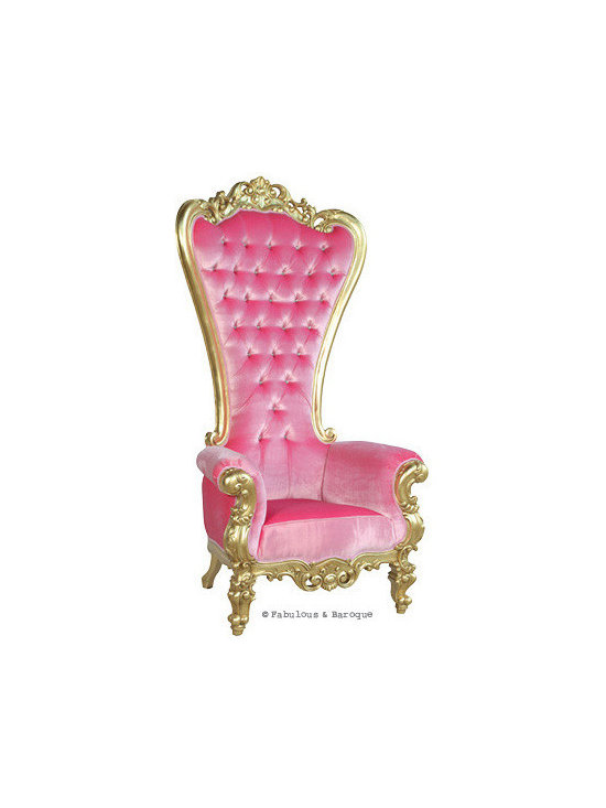 """Absolom Roche Chair - Gold & Pink Velvet - Feast your eyes upon the decadence and true luxury of Fabulous & Baroque's ultimate collection of furniture! The Absolom Roche chair, exclusive to Fabulous & Baroque, is the first in a collection of fine furniture which sets the bar beyond imagination. This sumptuous chair is nothing short of regal as it holds court no matter where you decide to feature it. Measuring 72"""" in height, the Absolom Roche commands its presence and appreciation for its true beauty. Handcrafted from mahogany and finished in gold leaf, upholstered in pink velvet and tufted. Want a different finish or fabric? We can do lacquer, gold or silver leafing and choose from an array of upholstery and tufting to make this chair truly your own."""