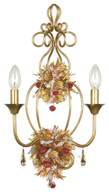 Crystorama 402-GA - Antique Gold Leaf Wrought Iron Wall Sconce - HomeThangs.com traditional-wall-sconces