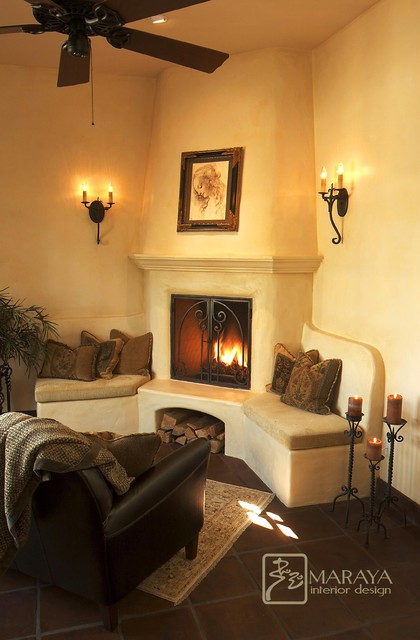Santa Barbara Spanish Fireplace mediterranean living room