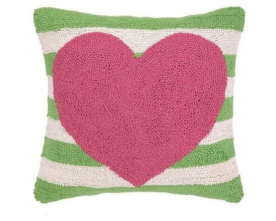 PHI - PHI Pink Heart Green Striped Pillow - Square pillow by PHI