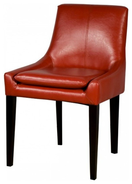 Chase Bonded Leather Dining Chair (Set of 2), Red traditional-dining-chairs